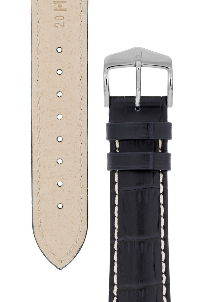 Hirsch Modena Alligator-Embossed Leather Sports Watch Strap in Dark Blue (Underside & Tapers)