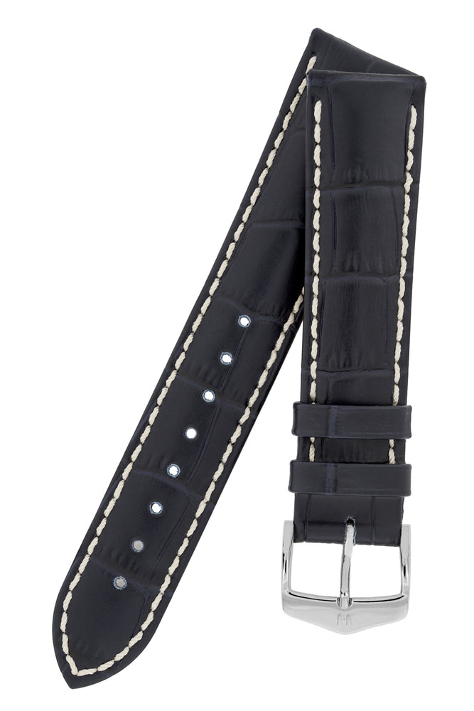 Hirsch Modena Alligator-Embossed Leather Sports Watch Strap in Dark Blue