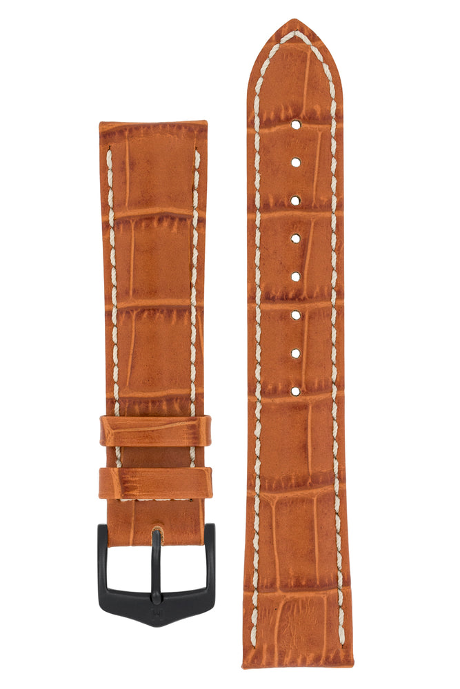 Hirsch Modena Alligator-Embossed Leather Sports Watch Strap in Honey Brown (with Black PVD-Coated Steel H-Classic Buckle)