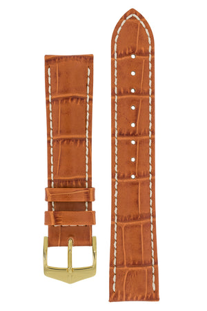 Hirsch Modena Alligator-Embossed Leather Sports Watch Strap in Honey Brown (with Polished Gold Steel H-Classic Buckle)