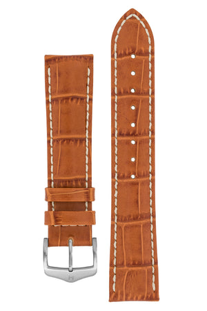 Hirsch Modena Alligator-Embossed Leather Sports Watch Strap in Honey Brown (with Brushed Silver Steel H-Classic Buckle)