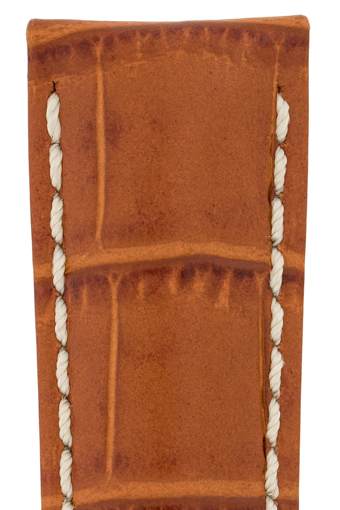 Hirsch Modena Alligator-Embossed Leather Sports Watch Strap in Honey Brown (Close-Up Texture Detail)