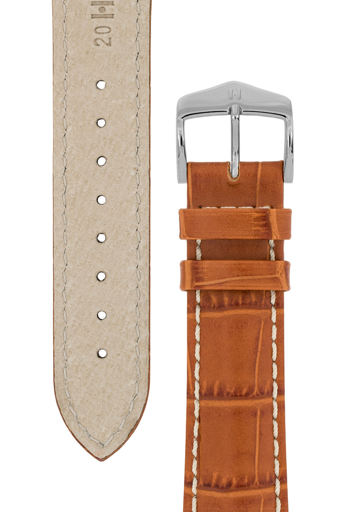 Hirsch Modena Alligator-Embossed Leather Sports Watch Strap in Honey Brown (Underside & Tapers)
