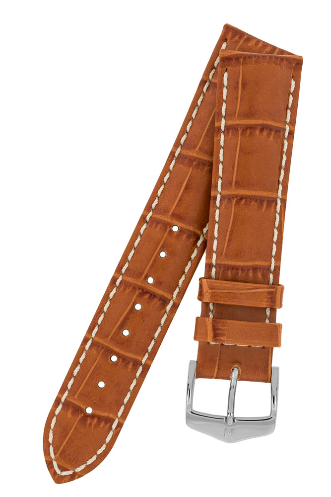 Hirsch Modena Alligator-Embossed Leather Sports Watch Strap in Honey Brown
