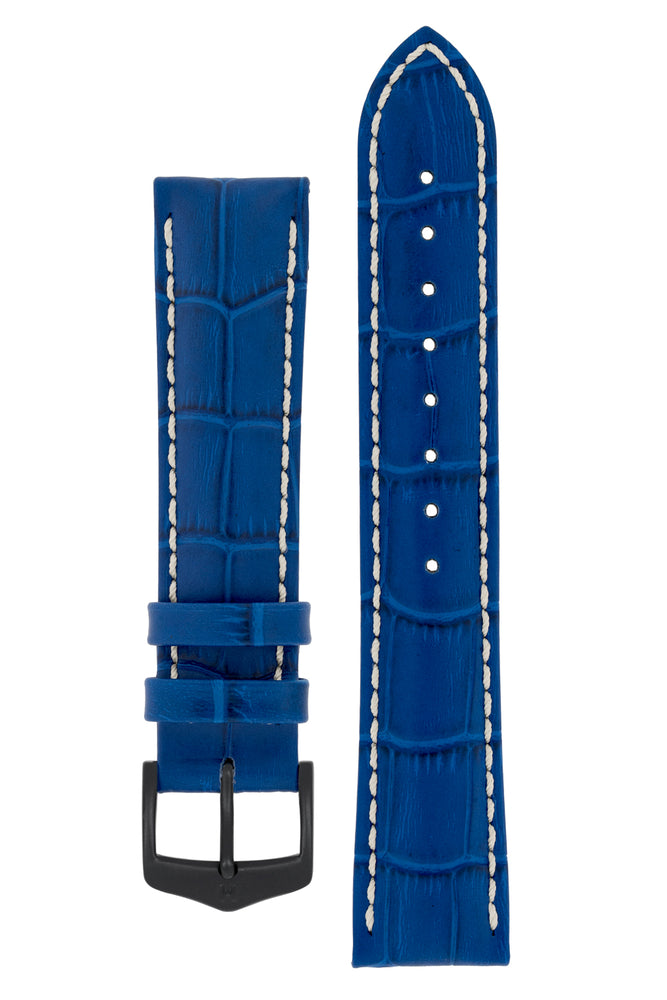 Hirsch Modena Alligator-Embossed Leather Sports Watch Strap in Royal Blue (with Black PVD-Coated Steel H-Classic Buckle)