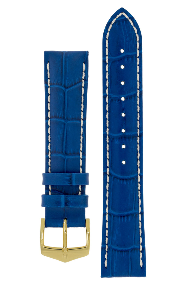 Hirsch Modena Alligator-Embossed Leather Sports Watch Strap in Royal Blue (with Polished Gold Steel H-Classic Buckle)