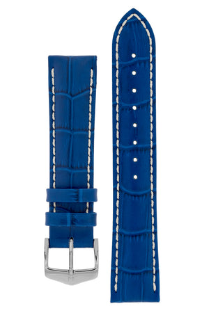 Hirsch Modena Alligator-Embossed Leather Sports Watch Strap in Royal Blue (with Polished Silver Steel H-Classic Buckle)