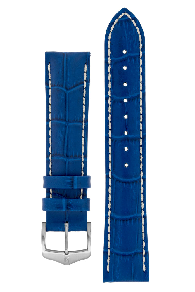 Hirsch Modena Alligator-Embossed Leather Sports Watch Strap in Royal Blue (with Brushed Silver Steel H-Classic Buckle)