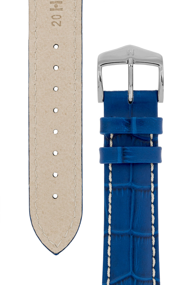 Hirsch Modena Alligator-Embossed Leather Sports Watch Strap in Royal Blue (Underside & Tapers)