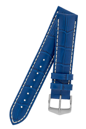 Hirsch Modena Alligator-Embossed Leather Sports Watch Strap in Royal Blue