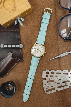Hirsch London Genuine Matt Alligator Leather Watch Strap in Pastel Blue (Promo Photo)