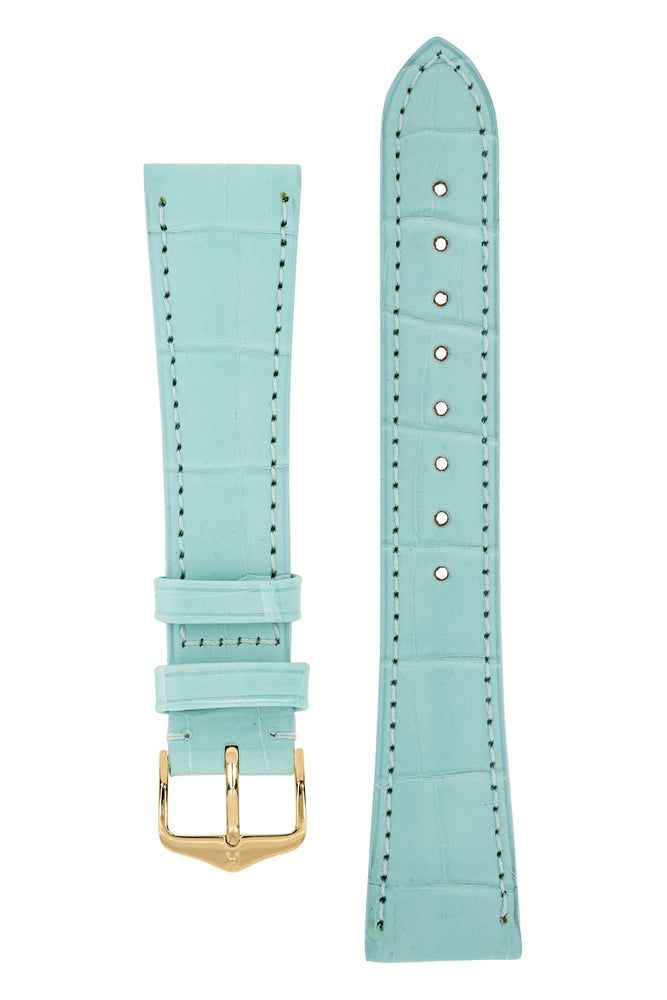 Hirsch London Genuine Matt Alligator Leather Watch Strap in Pastel Blue (with Polished Gold Steel H-Tradition Buckle)