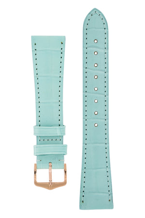 Hirsch London Genuine Matt Alligator Leather Watch Strap in Pastel Blue (with Polished Rose Gold Steel H-Tradition Buckle)