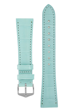 Hirsch London Genuine Matt Alligator Leather Watch Strap in Pastel Blue (with Polished Silver Steel H-Tradition Buckle)