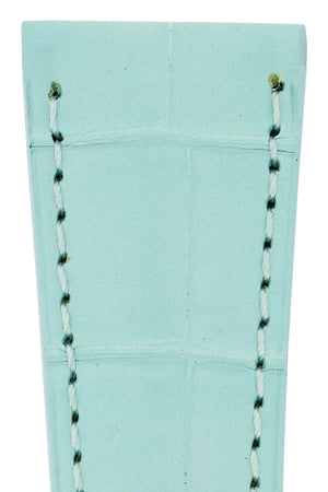 Hirsch London Genuine Matt Alligator Leather Watch Strap in Pastel Blue (Close-Up Texture Detail)