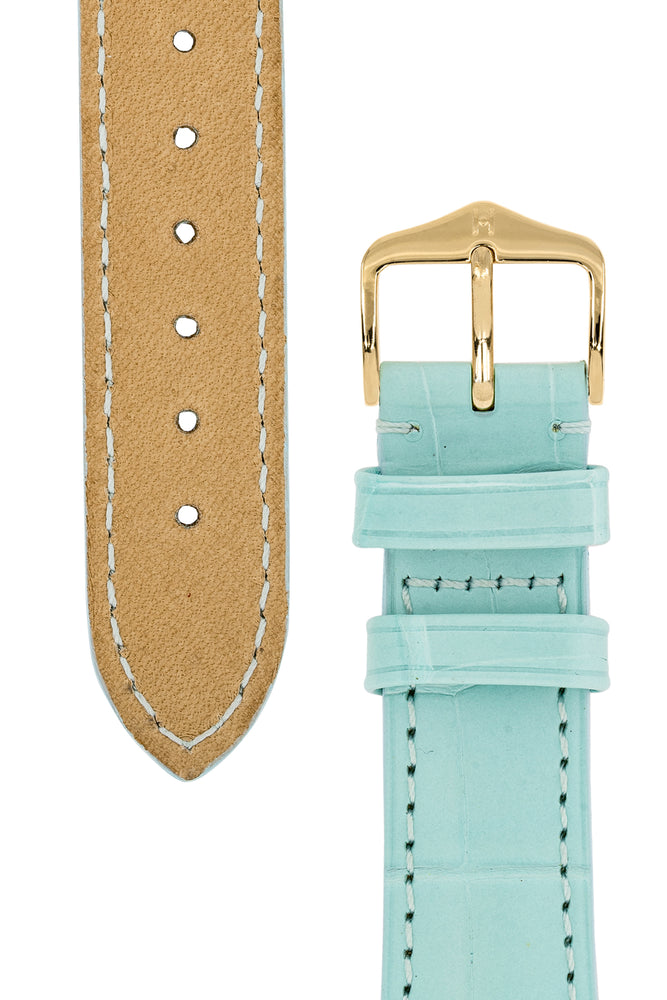 Hirsch London Genuine Matt Alligator Leather Watch Strap in Pastel Blue (Underside & Tapers)