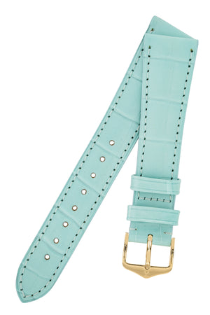 Hirsch London Genuine Matt Alligator Leather Watch Strap in Pastel Blue