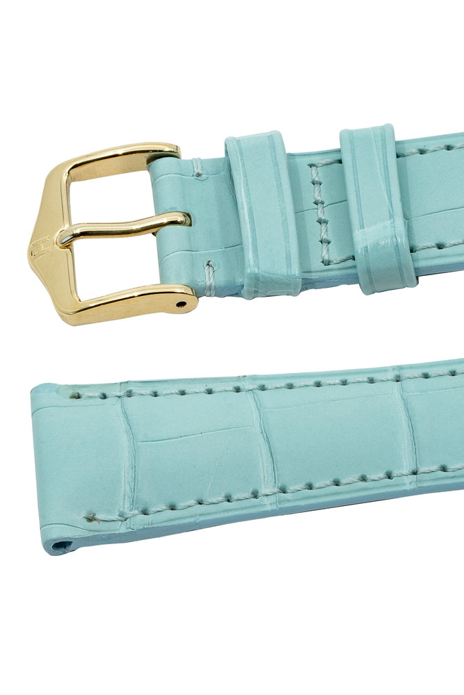 Hirsch London Genuine Matt Alligator Leather Watch Strap in Pastel Blue (Keepers)