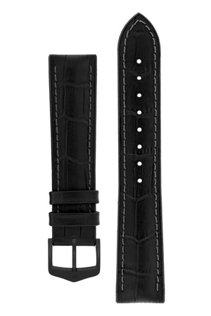 Hirsch Paul Alligator-Embossed Performance Rubber-Core Watch Strap in Black (with Black PVD-Coated Steel H-Classic Buckle)