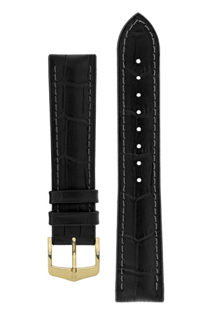Hirsch Paul Alligator-Embossed Performance Rubber-Core Watch Strap in Black (with Polished Gold Steel H-Classic Buckle)