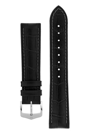 Hirsch Paul Alligator-Embossed Performance Rubber-Core Watch Strap in Black (with Polished Silver Steel H-Classic Buckle)