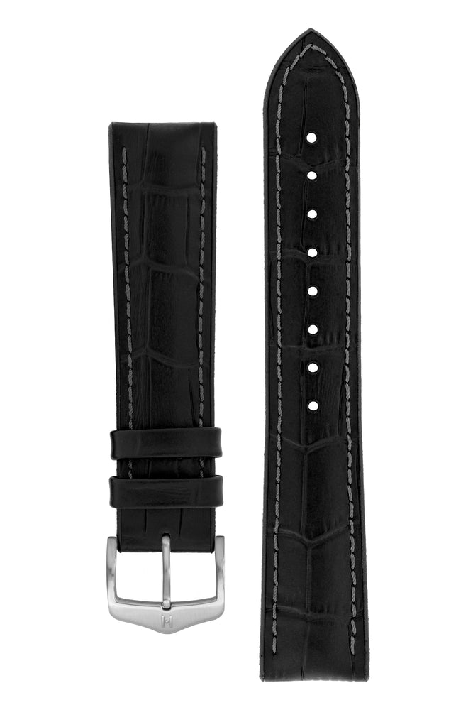Hirsch Paul Alligator-Embossed Performance Rubber-Core Watch Strap in Black (with Brushed Silver Steel H-Classic Buckle)