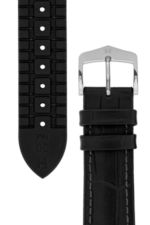 Hirsch Paul Alligator-Embossed Performance Rubber-Core Watch Strap in Black (Underside & Tapers)