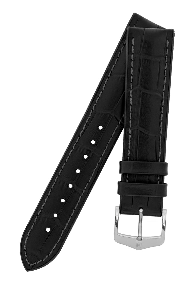 Hirsch Paul Alligator-Embossed Performance Rubber-Core Watch Strap in Black