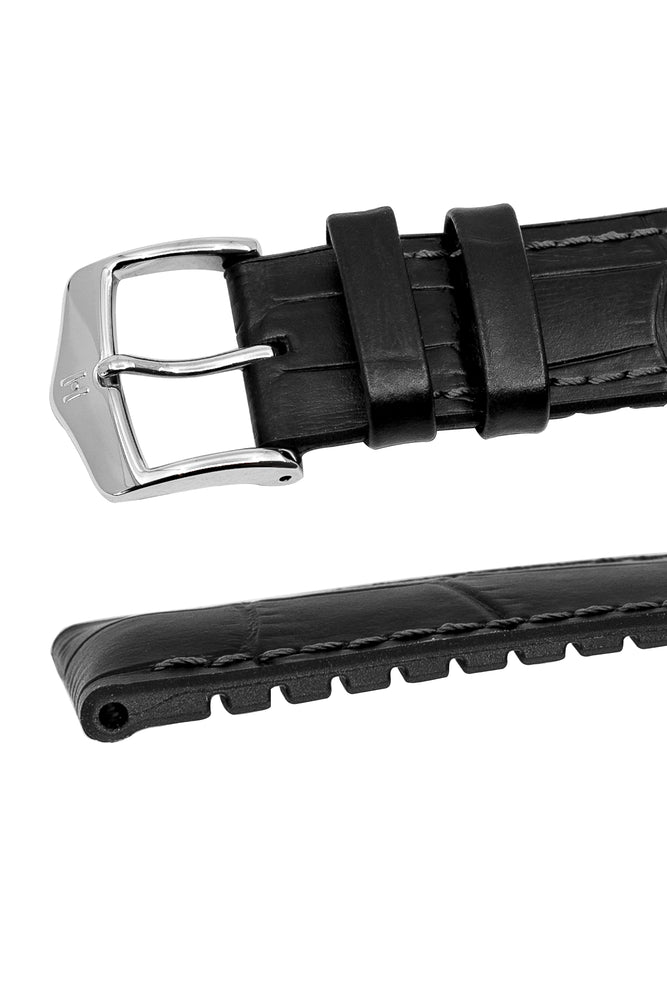 Hirsch Paul Alligator-Embossed Performance Rubber-Core Watch Strap in Black (Keepers & Padding)