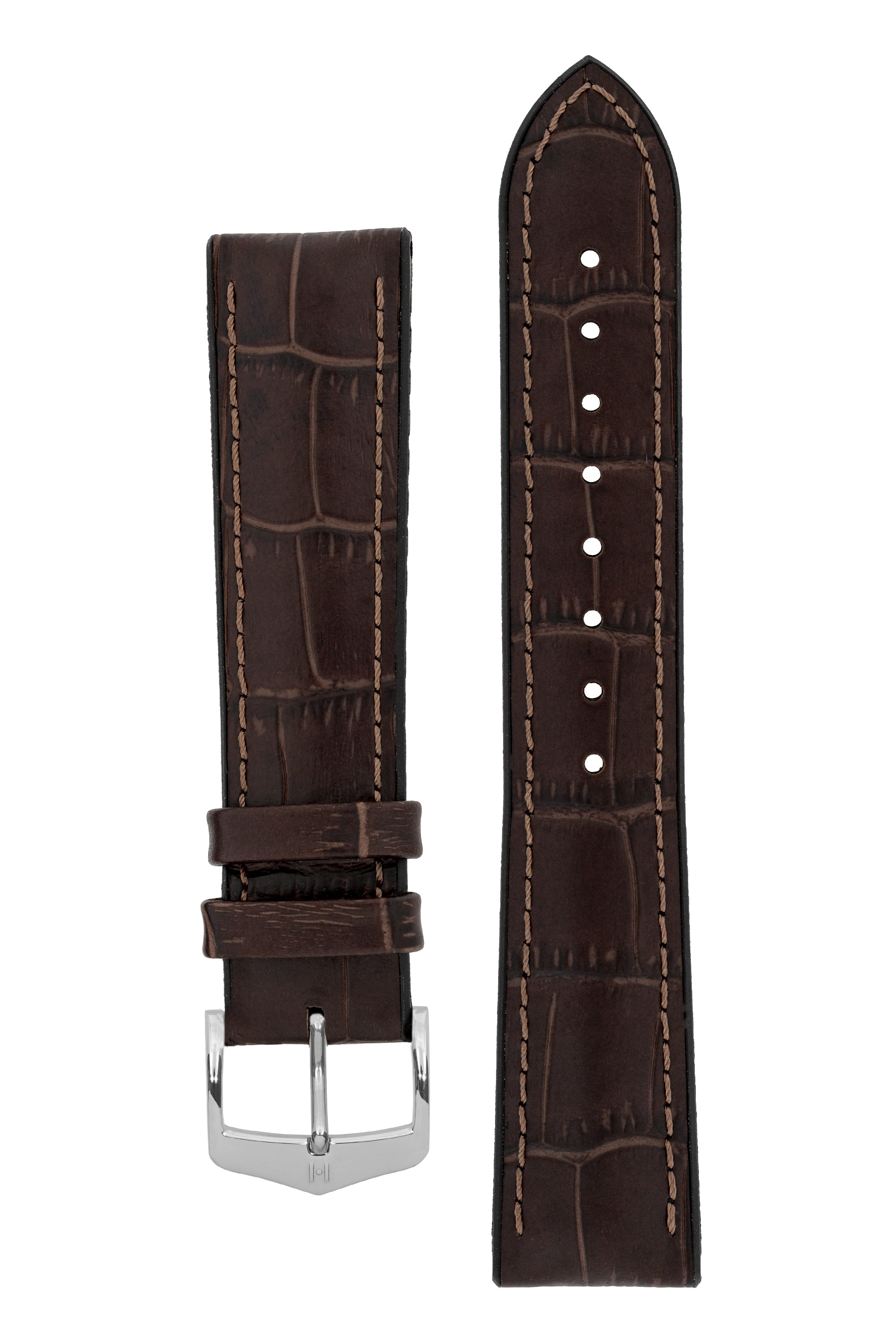 Hirsch PAUL Alligator Embossed Performance Watch Strap in BROWN