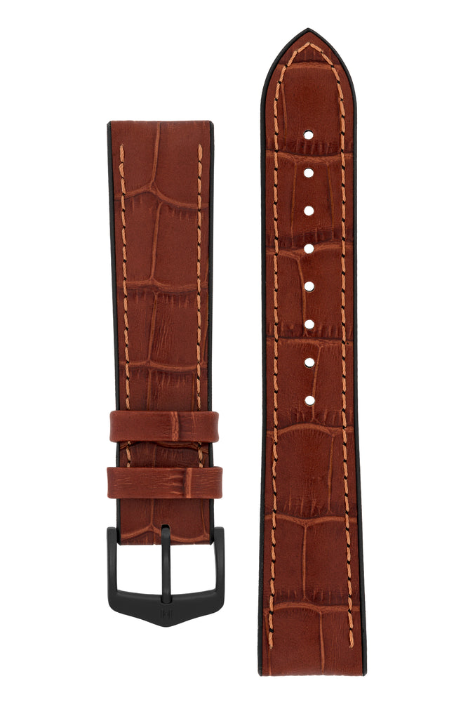 Load image into Gallery viewer, Hirsch Paul Alligator-Embossed Performance Rubber-Core Watch Strap in Gold Brown (with Black PVD-Coated Steel H-Classic Buckle)