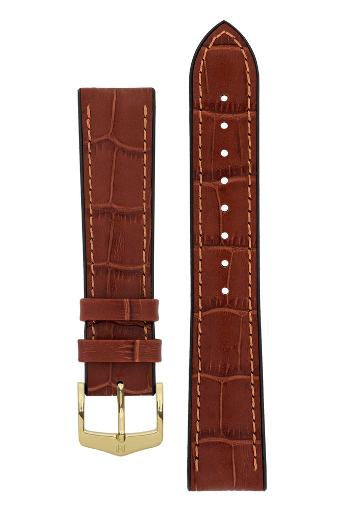 Load image into Gallery viewer, Hirsch Paul Alligator-Embossed Performance Rubber-Core Watch Strap in Gold Brown (with Polished Gold Steel H-Classic Buckle)