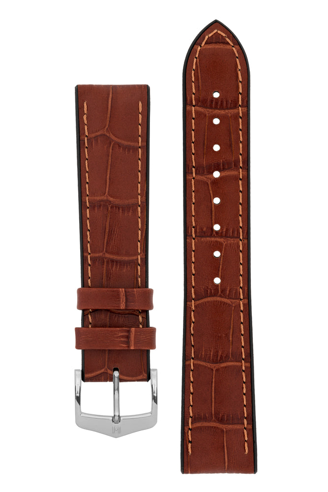 Hirsch Paul Alligator-Embossed Performance Rubber-Core Watch Strap in Gold Brown (with Polished Silver Steel H-Classic Buckle)