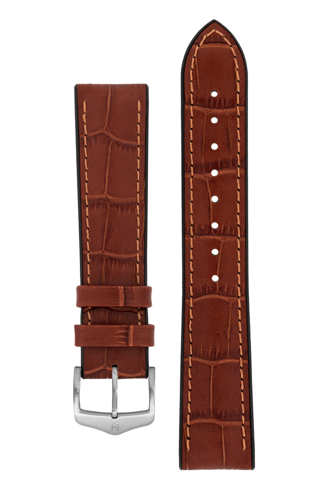 Hirsch Paul Alligator-Embossed Performance Rubber-Core Watch Strap in Gold Brown (with Brushed Silver Steel H-Classic Buckle)
