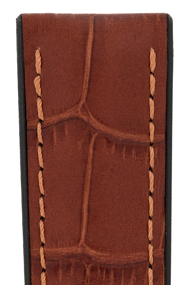 Hirsch Paul Alligator-Embossed Performance Rubber-Core Watch Strap in Gold Brown (Close-Up Texture Detail)