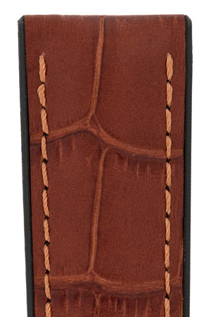 Hirsch PAUL Alligator Embossed Performance Watch Strap in GOLD BROWN
