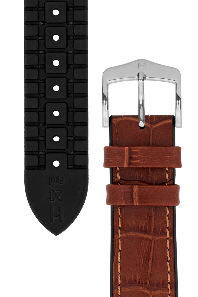 Hirsch Paul Alligator-Embossed Performance Rubber-Core Watch Strap in Gold Brown (Underside & Tapers)