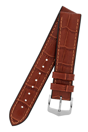 Load image into Gallery viewer, Hirsch Paul Alligator-Embossed Performance Rubber-Core Watch Strap in Gold Brown