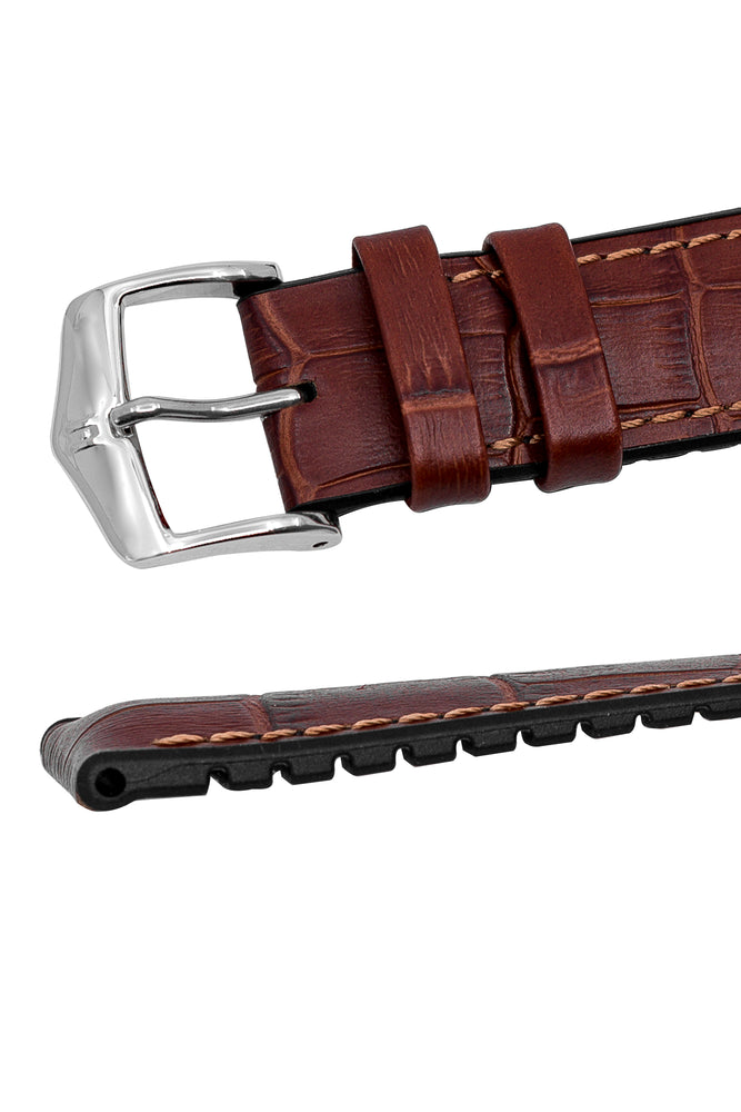Hirsch Paul Alligator-Embossed Performance Rubber-Core Watch Strap in Gold Brown (Keepers & Padding)