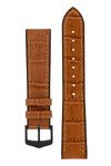 Hirsch Paul Alligator-Embossed Performance Rubber-Core Watch Strap in Honey Brown (with Black PVD-Coated Steel H-Classic Buckle)