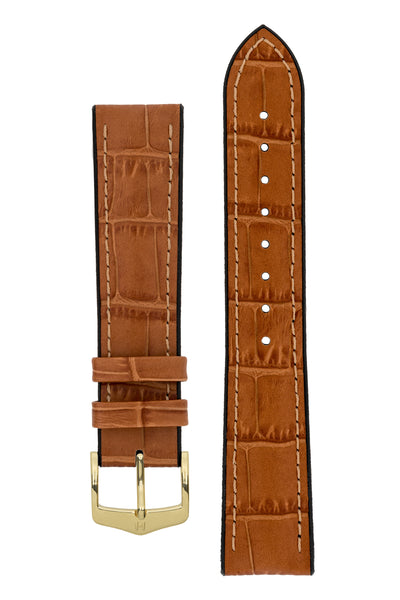 Hirsch Paul Alligator-Embossed Performance Rubber-Core Watch Strap in Honey Brown (with Polished Gold Steel H-Classic Buckle)