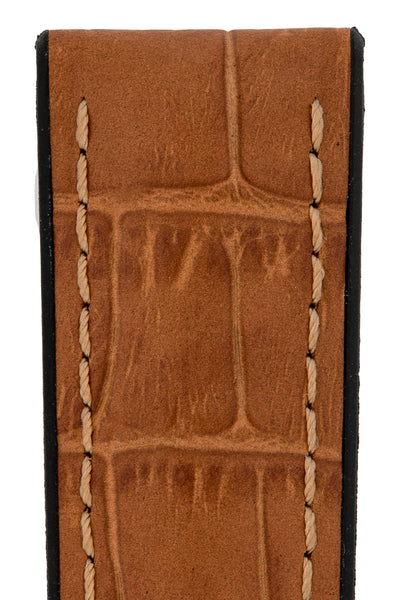Hirsch Paul Alligator-Embossed Performance Rubber-Core Watch Strap in Honey Brown (Close-Up Texture Detail)