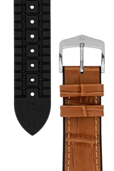 Hirsch Paul Alligator-Embossed Performance Rubber-Core Watch Strap in Honey Brown (Underside & Tapers)