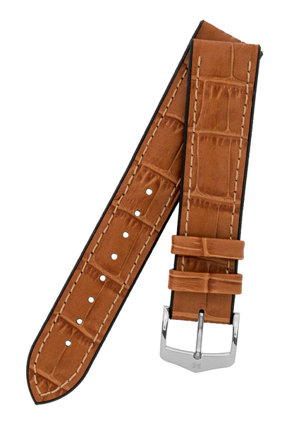 Hirsch Paul Alligator-Embossed Performance Rubber-Core Watch Strap in Honey Brown