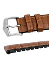 Hirsch Paul Alligator-Embossed Performance Rubber-Core Watch Strap in Honey Brown (Keepers & Padding)