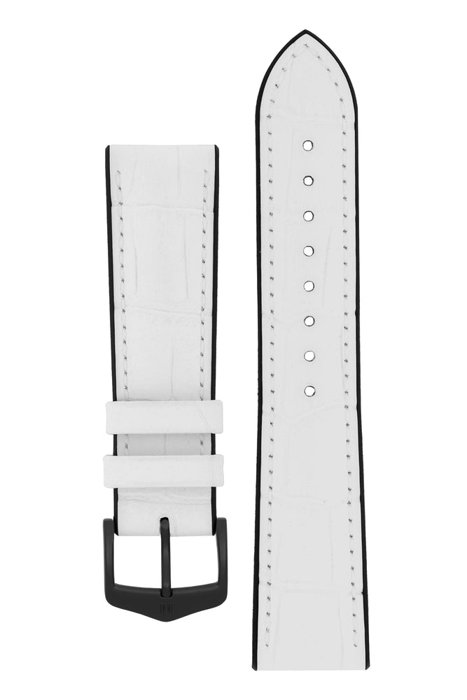 Hirsch Paul Alligator-Embossed Performance Rubber-Core Watch Strap in White (with Black PVD-Coated Steel H-Classic Buckle)