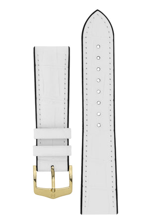 Hirsch Paul Alligator-Embossed Performance Rubber-Core Watch Strap in White (with Polished Gold Steel H-Classic Buckle)