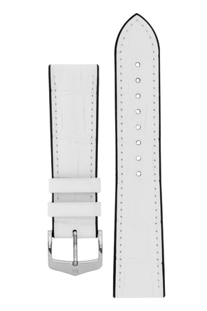 Hirsch Paul Alligator-Embossed Performance Rubber-Core Watch Strap in White (with Polished Silver Steel H-Classic Buckle)