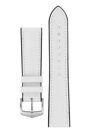 Hirsch Paul Alligator-Embossed Performance Rubber-Core Watch Strap in White (with Brushed Silver Steel H-Classic Buckle)