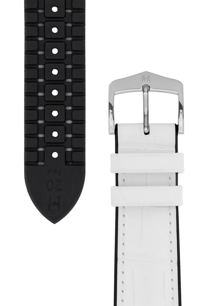 Hirsch Paul Alligator-Embossed Performance Rubber-Core Watch Strap in White (Underside & Tapers)